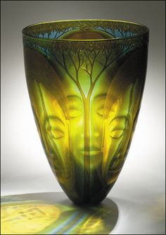 """glass Art NEW__Kevin Gordon """"Deep Forest"""" 2004 - Blown, triple outside cased, triple inside cased, sandblasted, intaglio engraved, hand and fire polished. Via: http://www.kevingordon.com.au/pages/NEW/deepforest.htm#"""