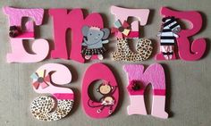 TuTu Cute Wooden Letters match the Summer by KidMuralsbyDanaR Baby Letters, Cute Letters, Letters For Kids, Painted Wood Letters, Large Wooden Letters, Hand Painted, Wooden Projects, Diy Craft Projects, Diy Crafts