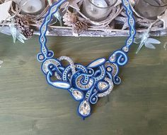 A statement bib necklace made in soutache embroidery technique in blue. This stunning piece of jewelry is made of soutache braid, Czech beads, crystals and glass beads. It fits comfortably around your neck, the lenght of chain is adjustable. ♥ Each piece of jewelry is hand craft with love and