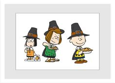 Description: It's Thanksgiving and the Peanuts are ready to eat! With pies in hand, this Peanuts framed art shows the friends wearing pilgrim hats and is perfect to hang on Thanksgiving. - Peanuts wal