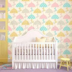 Papel de Parede Autocolante Infantil e Bebê Estampado Sombrinhas BASP013