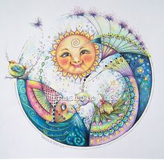 Modern art mixed media collage circular painting drawing illustration sun celestial solar face birds peacock-like girl child fish ocean sea seaside seashore cosmos butterfly charming cute marine life branch stars Sun Moon Stars, Sun And Stars, Illustration Photo, Sun Art, Hippie Art, Moon Design, Whimsical Art, Mandala Art, Rock Art