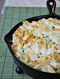 mac and cheese recipe with three cheeses. I love that it is cooked in a cast iron skillet! Must try.