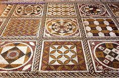 mosaic floor in the Roman Villa Sileen (moon goddess Silene), Leptis Magna, Libya