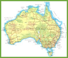 Large physical map of Australia with roads and cities. Coast Australia, Australia Travel, Hello Australia, Visit Australia, Tasmania, East Coast Map, Printable Maps, Printables, California Map