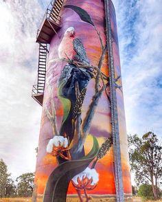 Moura - Silo Art Moura, Queensland - The Banana Shire Murals Street Art, Graffiti Murals, 3d Street Art, Street Art Graffiti, Mural Art, Street Artists, Building Art, Wow Art, Sand Art