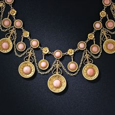 Victorian Etruscan Rivival Angel Skin Coral Necklace    c. 1875