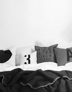 We love sleepy sundays in bed! Shop all the pillows and plaids here http://www.typehype.eu/covers-pillows.