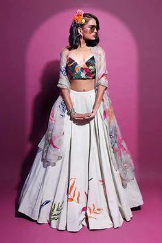 Shop Mahima Mahajan Embroidered Lehenga Set , Exclusive Indian Designer Latest Collections Available at Aza Fashions Indian Fashion Dresses, Indian Gowns Dresses, Dress Indian Style, Indian Designer Outfits, Fashion Outfits, Designer Dresses, Pakistani Clothing, Indian Designers, Pakistani Suits