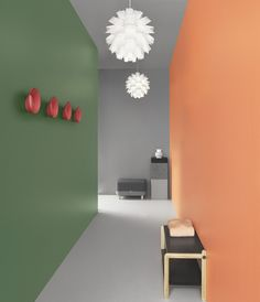 Hallways can often be narrow featureless corridors so use fun colour combinations on opposite walls to create a feature, it's inexpensive and can be changed and updated when you tire of your latest combo. Hallway Wall Colors, Hallway Walls, Hallways, Hallway Ideas, Hallway Colour Schemes, Colour Combinations Interior, Colour Blocking Interior, Hall Colour, Wall Color Combination