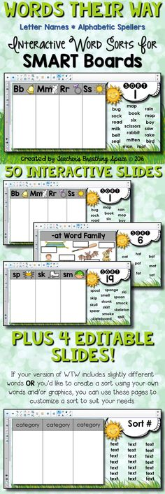 Words Their Way - Letter Name/Alphabetic Spellers - Interactive Word Sorts for SMART Boards! Includes 50 interactive word sorts, PLUS 4 EDITABLE slides to help you customize your word sorts to suit your needs! Kindergarten Reading, Teaching Reading, Guided Reading, Kindergarten Literacy Activities, Learning, Listening Activities, Spelling Activities, Teaching Phonics, Vocabulary Games