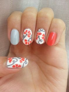 Love love love!  'Grey & coral flowers with twisting stems. *recreated from ArcadiaNailArt tutorial*'