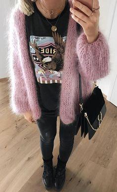 #pretty #winter #outfits / Pink Wool Cardigan // Printed Tee-shirt // Skinny Jeans/ / Suede Shoulder Bag // Black Booties
