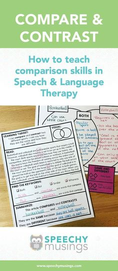 Teaching Compare and Contrast Skills in Speech & Language Therapy   Speechy Musings