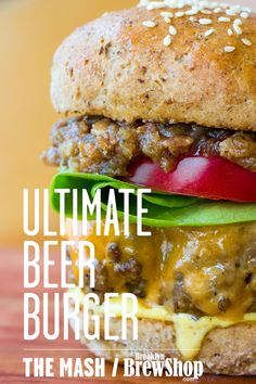 Ultimate Beer Burger: We stack this stout-spiked patty with hop mayo, beer bacon & onion jam and a spent grain bun. #beer #burger #recipe