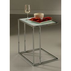 Norway Chrome White Tempered Glass End Table (Metro End Table)