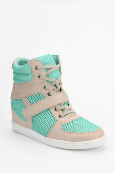 Urban Outfitters - Deena & Ozzy Mesh High-Top Sneaker from Urban Outfitters. Saved to Epic Wishlist. Wedge Tennis Shoes, Wedge Sneakers, High Top Sneakers, Dream Shoes, New Shoes, Cute Shoes, Me Too Shoes, Hip Hop Shoes, Ugg Boots Cheap