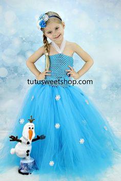 Handmade Elsa Snowflake Frozen Inspired Crochet Top Tutu Dress Costume