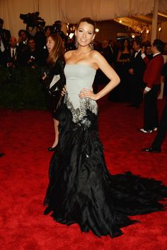 Blake Lively wears Gucci to the  the Costume Institute Gala for the PUNK: Chaos to Couture exhibition at the Metropolitan Museum of Art on May 6, 2013 in New York City.