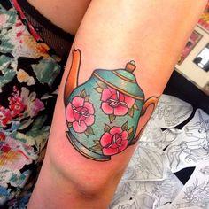 Floral teapot tattoo by Miss Quartz. #traditional #cute #MissQuartz #floral…