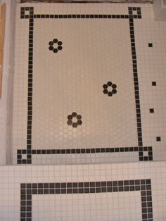 Combining small square tiles for the white and black borders with hexagonal in the center.