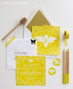 "Custom Illustration: @Betsy Buttram Storey ""What Will It Bee?"" Gender Reveal Party  // custom invitation suite // yellow // honeybee"