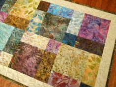 Quilted Batik Table Runner with Leaves in Blue Brown and Purple, Batik Tablecloth, Batik Table Quilt, Quilted Batik Table Topper by SusiQuilts on Etsy