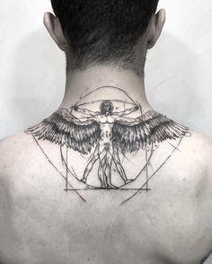 A version of the Vitruvian man . - A version of the Vitruvian man … – ink – - Back Tattoos, Body Art Tattoos, New Tattoos, Tattoo Drawings, Tribal Tattoos, Small Tattoos, Sleeve Tattoos, Tattoos For Guys, Cool Tattoos