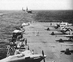 British Carriers: HMS Victorious, HMS Indomitable & HMS Eagle.