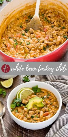 White Bean Turkey Chili is hearty, healthy turkey chili recipe with lean ground turkey, white beans, fresh lime and plenty of spice! It's gluten-free and freezer-friendly! #turkeychili #whitebeanturkey Chili Recipes, Soup Recipes, Sweets Recipes, Fall Recipes, Chicken Recipes, Ground Turkey Chili, Turkey Chile, Turkey Stew, White Bean Turkey Chili