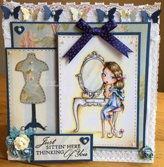 All Dressed Up/ mirror mirror/ Wendy Burns/ stamp/ image/Polychromos pencils/Ness Butler/ blue/