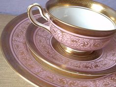 Antique pink and gold tea cup and saucer plate by ShoponSherman,