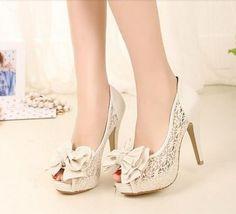Slugged bottom  sweet lace bowknot high-heeled shoes sandals