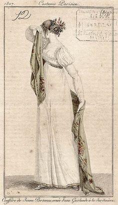 1807 Regency hairstyle, shawl, puff sleeve... fun