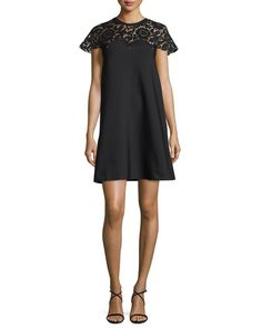 Valentino Camubutterfly Fit-and-flare Dress In Black Short Lace Dress, Short Sleeve Dresses, Dress Lace, Valentino Rockstud, Babydoll Dress, Dress Outfits, Cold Shoulder Dress, Neiman Marcus, Clothes