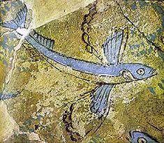 Minoan flying fish fresco from Phylakopi, Milos, Greece via minoanatlantis.