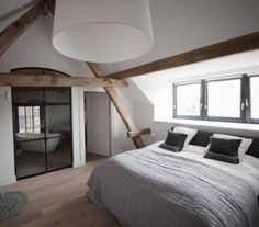Attic spaces are considered difficult to decorate and accommodate everything you need. Today's roundup will prove that an attic bedroom can be an amazing . Attic Master Bedroom, Attic Bedroom Designs, Bedroom With Bath, Attic Bedrooms, Bedroom Loft, Home Bedroom, Bedroom Decor, Attic Bathroom, Design Bedroom