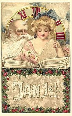 New Year Postcard - Samuel Schmucker Beautiful Woman with Father Time Book in Collectibles, Postcards, Holidays Vintage Greeting Cards, Vintage Christmas Cards, Christmas Images, Vintage Ephemera, Vintage Holiday, Christmas And New Year, Vintage Postcards, Vintage Happy New Year, Happy New Year Cards