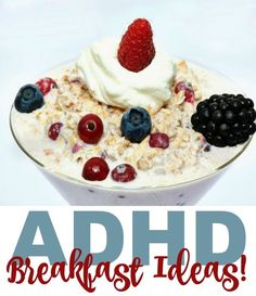 A friend recently asked me what I feed my boys, both of whom have ADHD, for breakfast. She knows that her son, who was recently diagnosed, needs a high protein breakfast to jump start his brain. The problem is that his meds upset his tummy and he can be a High Protein Breakfast, Breakfast For Kids, Eat Breakfast, School Breakfast, School Lunch, Adhd Brain, Adhd Help, Adhd Diet, Adhd Strategies