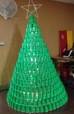 My Roomates And I Made A Christmas Tree Out Of Plastic