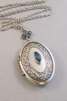Midnight SapphireLocketAntique LocketSilver by ValleyGirlDesigns