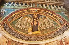 Majestas Mariae (Mother of God in Majesty). Apse. Santa Maria in Domnica alla Navicella. Roma ITALY. 9th century