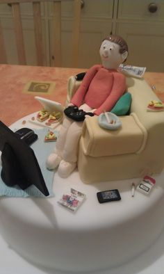 Couch Potato sofa-themed cake for a 30th birthday.