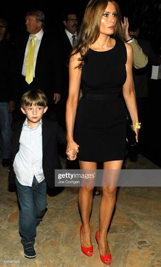 "Barron Trump, Melania Trump and Donald Trump leaving ""The Ultimate Merger"" premiere at Trump Tower on June 2010 in New York City. Get premium, high resolution news photos at Getty Images Trump Melania, Melania Knauss Trump, First Lady Melania Trump, Donald Trump Son, Trump Photo, My Prince, Bari, To My Future Husband, Famous People"