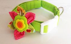 Green Flower Dog Collar for Female Dog by KVSPetAccessories, $11.75