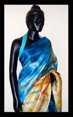 Blue ocean theme Hand-painted saree