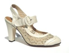 Remix Vintage Shoes, Ginger Slingback & Buckle with Lace Upper in Ivory Leather/Ivory Lace