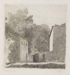 Giorgio Morandi - Paesaggio (Chiesanuova) - Acquaforte su rame - cm. 15,8x15,5 (lastra), cm. 22,7x27 (carta)