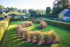 grass beds/hedges, lawn path, hedge enclosed lawn, great hide and seek and tag play area (Image result for wave topiary hedge)
