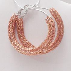 Raw copper viking knit metalwork ladies earrings by DonnaDStore